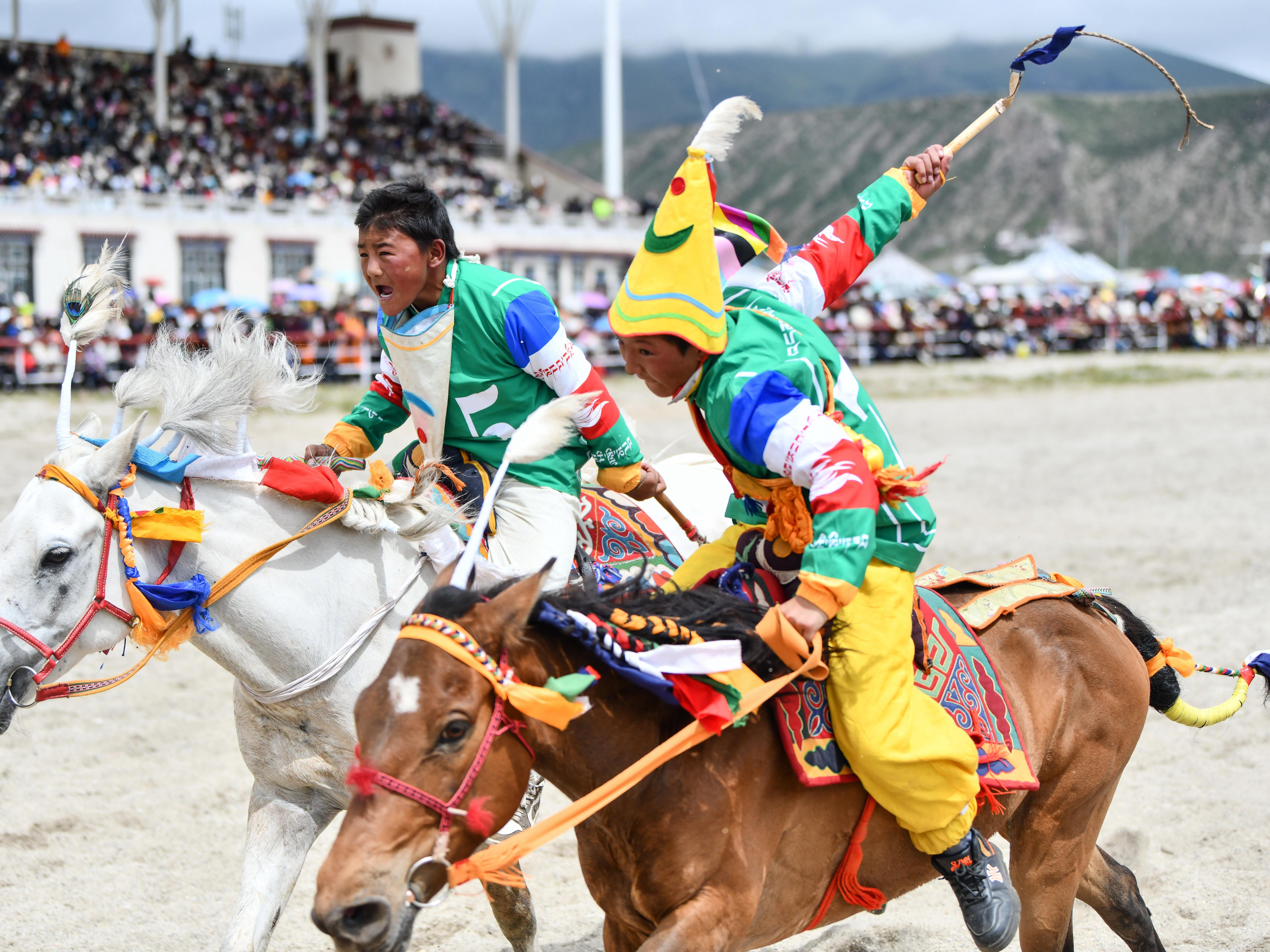 西藏当雄:云端赛马